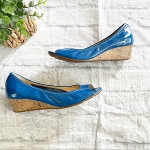 Cole Haan patent blue peep toe wooden wedges Nike